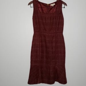 Tory Burch Drew plum tweed sheath dress sz 4